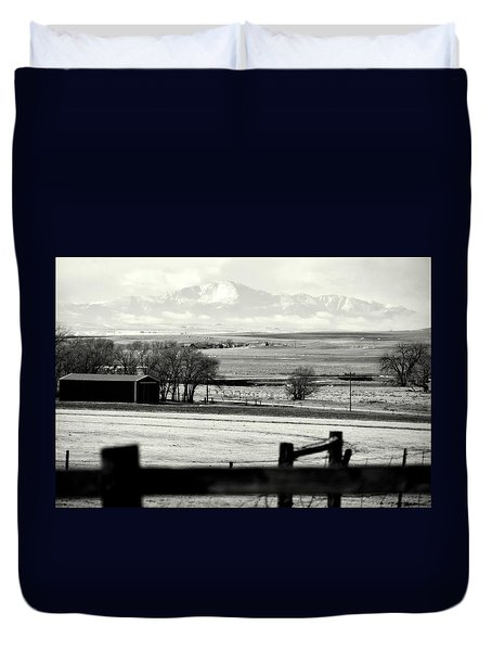 Pikes Peak From Ramah Duvet Cover by Clarice  Lakota