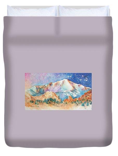 Pikes Peak Over The Garden Of The Gods Duvet Cover