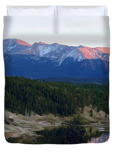 Pikes Peak Sunset Duvet Cover