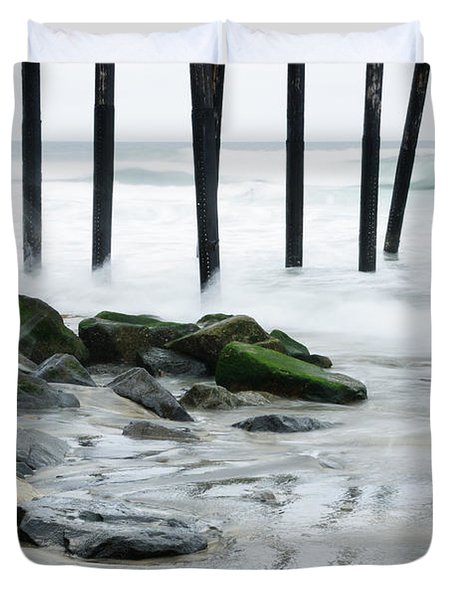 Pilings At Oceanside Duvet Cover