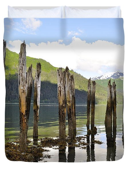 Duvet Cover featuring the photograph Pilings by Cathy Mahnke