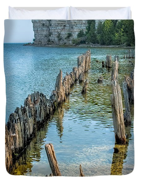 Pilings On Lake Michigan Duvet Cover