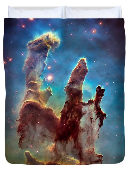 Pillars Of Creation In High Definition - Eagle Nebula Duvet Cover by Jennifer Rondinelli Reilly - Fine Art Photography