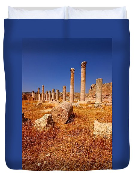 Pillars Of Ruin Duvet Cover by FireFlux Studios