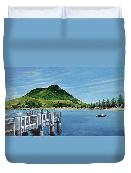 Duvet Cover featuring the painting Pilot Bay 280307 by Sylvia Kula