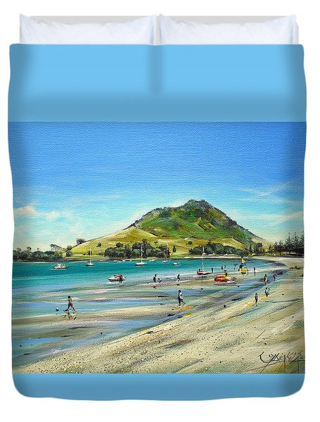 Duvet Cover featuring the painting Pilot Bay Mt M 050110 by Sylvia Kula