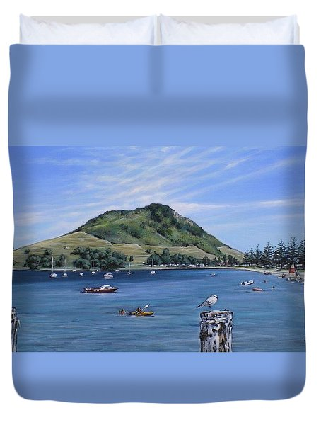Duvet Cover featuring the painting Pilot Bay Mt M 291209 by Sylvia Kula