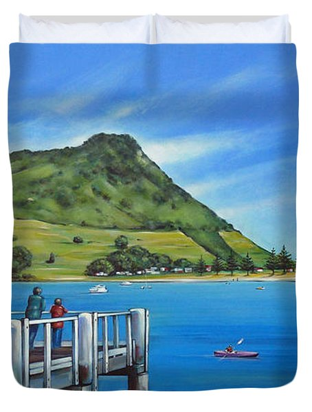 Duvet Cover featuring the painting Pilot Bay Mt Maunganui 201214 by Selena Boron
