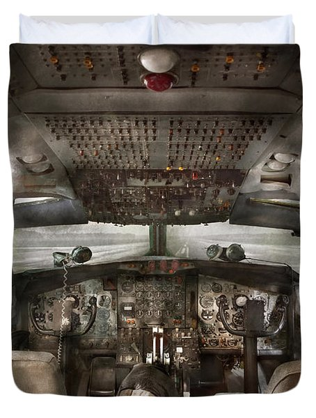 Pilot - Boeing 707  - Cockpit - We Need A Pilot Or Two Duvet Cover by Mike Savad