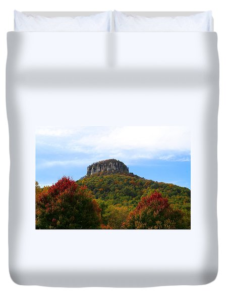 Pilot Mountain From 52 Duvet Cover