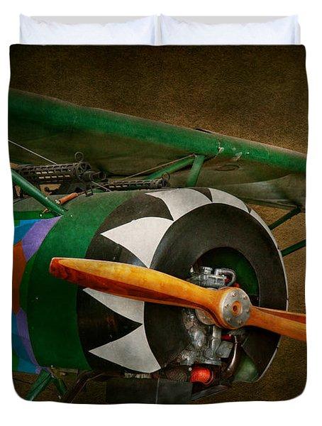 Pilot - Plane - German Ww1 Fighter - Fokker D Viii Duvet Cover by Mike Savad