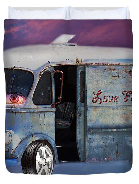 Duvet Cover featuring the photograph Pin Up Cars - #2 by Gunter Nezhoda