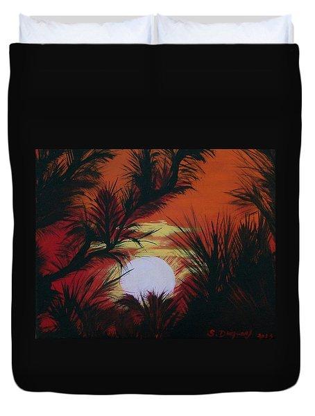 Pine Branch Silhouette Duvet Cover
