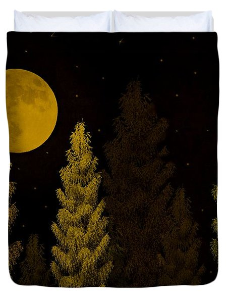 Pine Forest Moon Duvet Cover