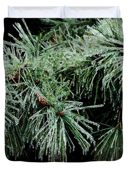 Pine Needles In Ice Duvet Cover by Betty LaRue