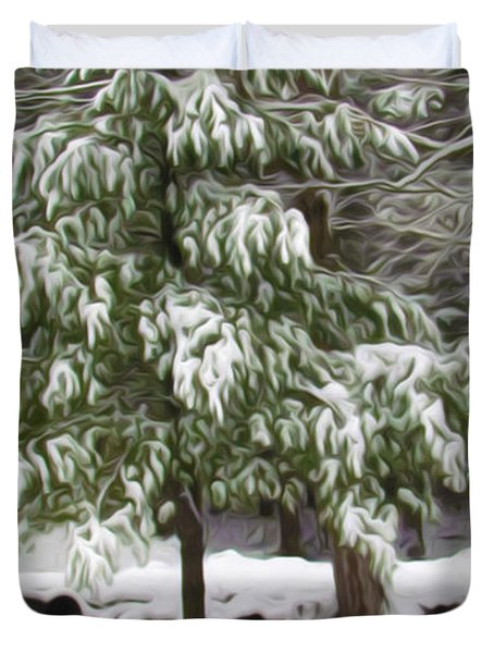 Pine Tree Covered With Snow 2 Duvet Cover by Lanjee Chee
