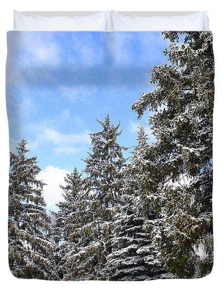 Pine Tree Haven Duvet Cover by Frozen in Time Fine Art Photography