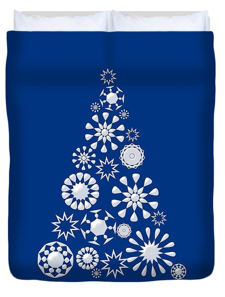 Pine Tree Snowflakes - Dark Blue Duvet Cover