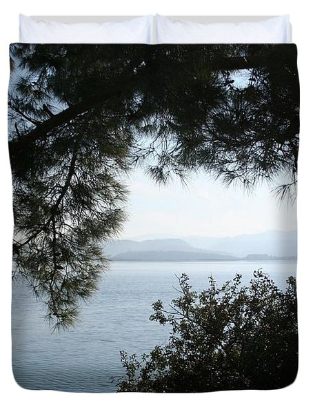 Duvet Cover featuring the photograph Pine Trees Overhanging The Aegean Sea by Tracey Harrington-Simpson