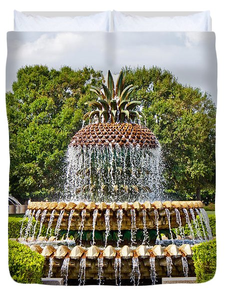 Pineapple Fountain In Waterfront Park Duvet Cover