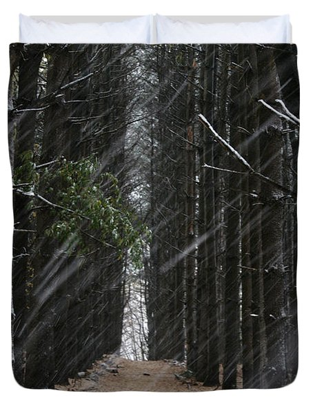 Pines In Snow Duvet Cover