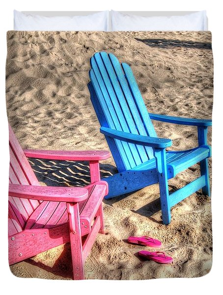 Pink And Blue Beach Chairs With Matching Flip Flops Duvet Cover