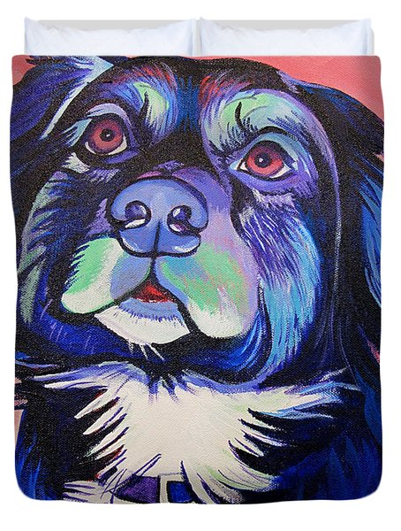 Pink And Blue Dog Duvet Cover by Joshua Morton