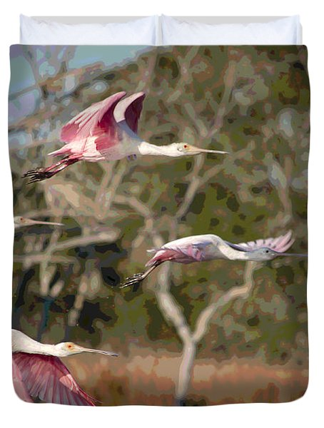 Pink And Feathers Duvet Cover