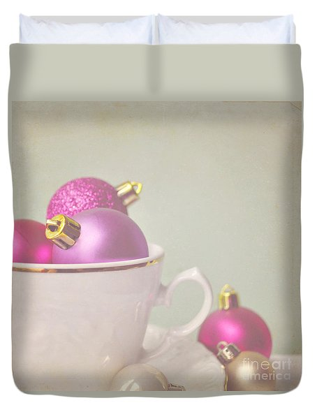 Pink And Gold Christmas Baubles In China Cup. Duvet Cover by Lyn Randle