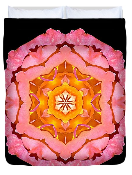 Pink And Orange Rose I Flower Mandala Duvet Cover