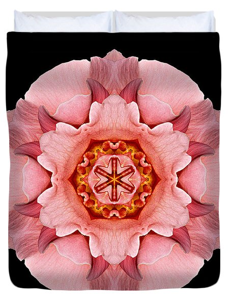 Pink And Orange Rose Iv Flower Mandala Duvet Cover