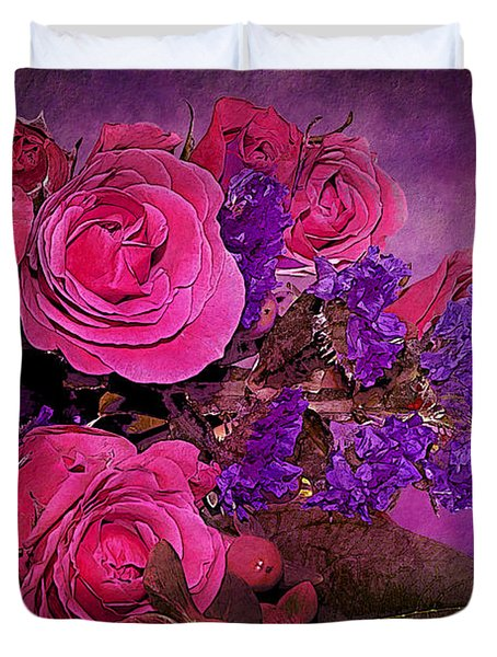 Pink And Purple Floral Bouquet Duvet Cover