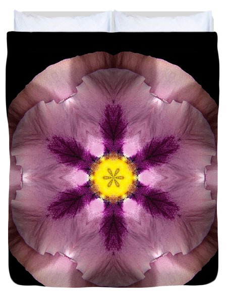 Pink And Purple Pansy Flower Mandala Duvet Cover