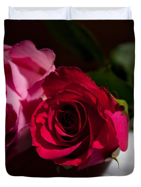 Duvet Cover featuring the photograph Pink And Red Rose by Matt Malloy
