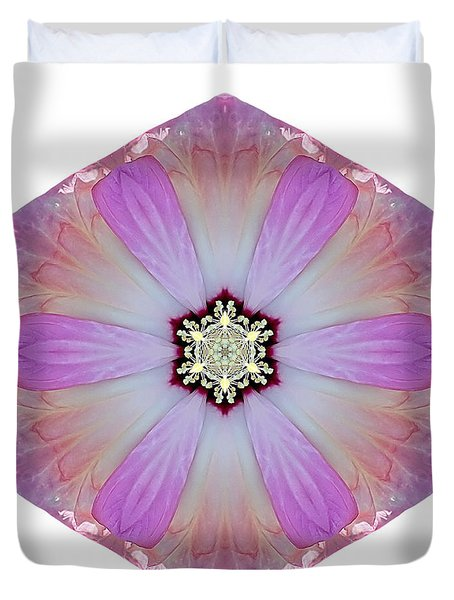 Pink And White Hibiscus Moscheutos I Flower Mandala White Duvet Cover