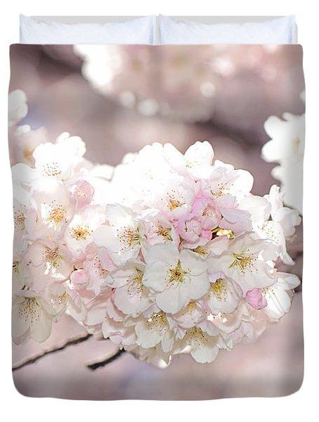 Pink And White Pompoms Of Light Duvet Cover by Lisa Knechtel