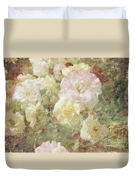 Pink And White Roses With Tapestry Look Duvet Cover