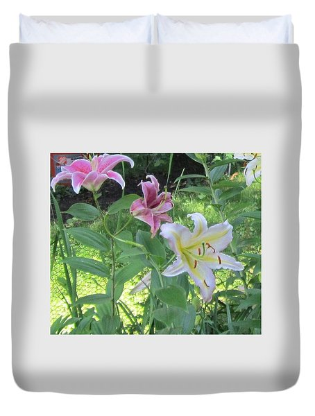 Pink And White Stargazer Lilies Duvet Cover