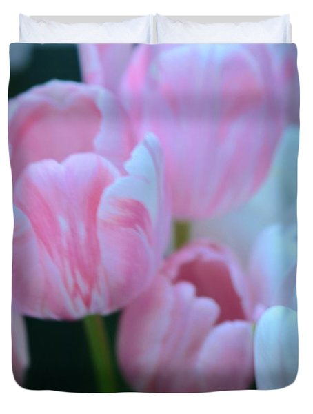 Pink And White Tulips Duvet Cover by Kathleen Struckle