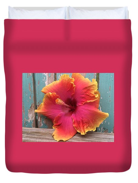 Tropical Pink And Yellow Hibiscus  Duvet Cover