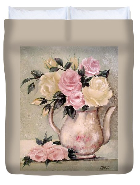 Pink And Yellow Roses In Teapot Painting Duvet Cover by Chris Hobel