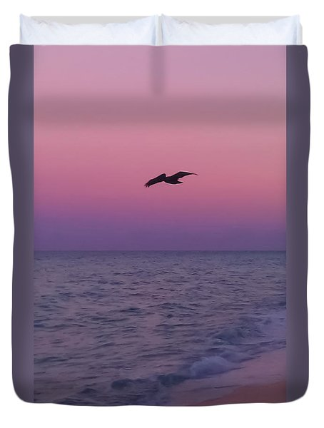 Pink Beach Sunset Duvet Cover