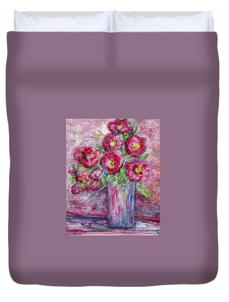 Pink Beauties In A Blue Crystal Vase Duvet Cover by Eloise Schneider