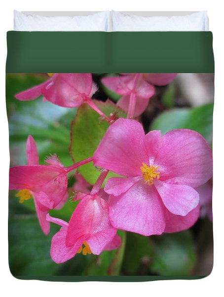 Pink Begonias Duvet Cover by Barbara Yearty