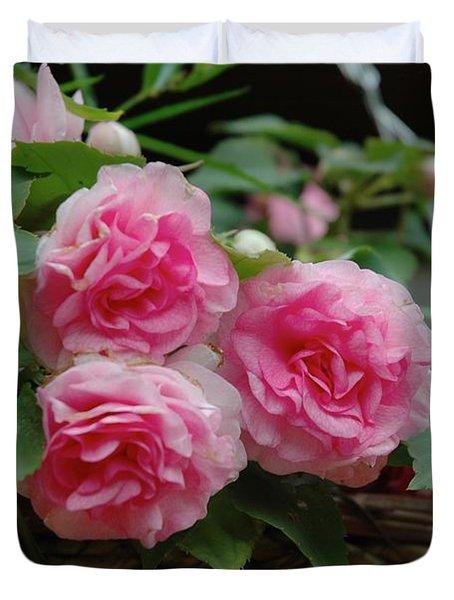 Pink Begonias Duvet Cover