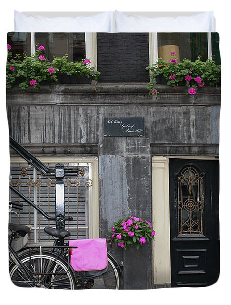 Pink Bikes Of Amsterdam Duvet Cover by Mary-Lee Sanders