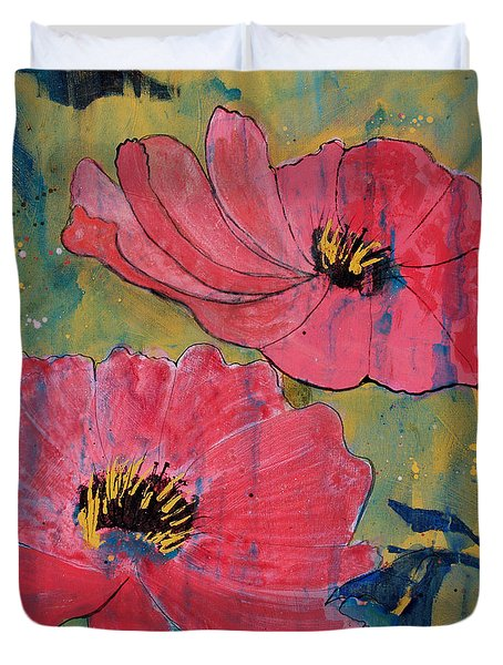Duvet Cover featuring the painting Pink Blossoms by Robin Maria Pedrero
