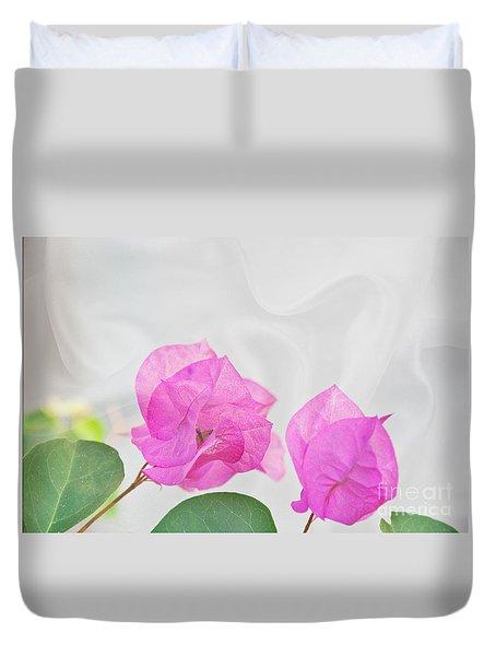 Pink Bougainvillea Flowers On White Silk Art Prints Duvet Cover