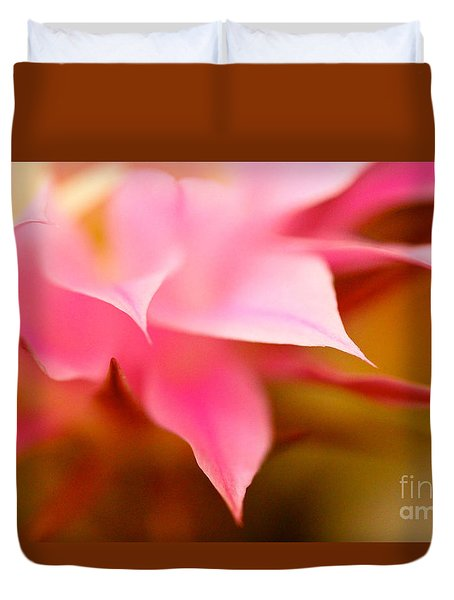 Pink Cactus Flower Abstract Duvet Cover
