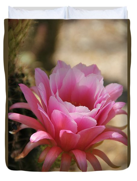 Duvet Cover featuring the photograph Pink Cactus by Tammy Espino